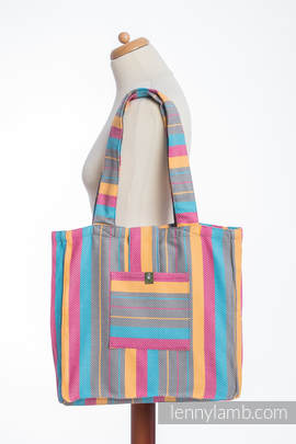 Shoulder bag made of wrap fabric (100% cotton) - LITTLE HERRINGBONE DAYLIGHTS - standard size 37cmx37cm