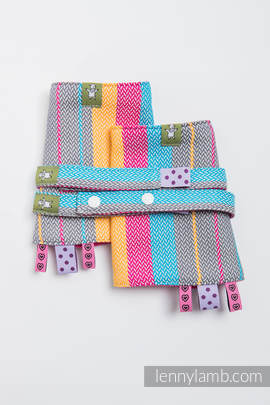 Drool Pads & Reach Straps Set, (100% cotton) - LITTLE HERRINGBONE DAYLIGHTS