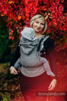 Nosidełko Ergonomiczne z tkaniny żakardowej 100% bawełna , Baby Size, LITTLE LOVE - TAJEMNICA - Druga Generacja