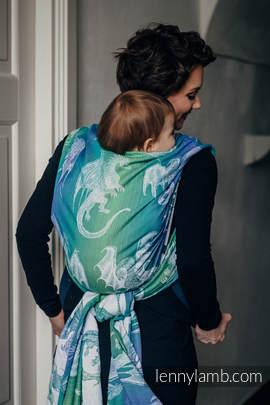 Baby Wrap, Jacquard Weave (100% cotton) - DRAGON GREEN & BLUE  - size XS (grade B)