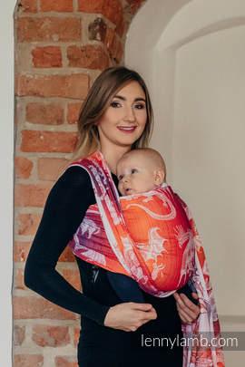 Baby Wrap, Jacquard Weave (100% cotton) - DRAGON ORANGE & RED - size XS