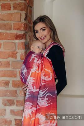 Baby Wrap, Jacquard Weave (100% cotton) - DRAGON ORANGE & RED - size XL
