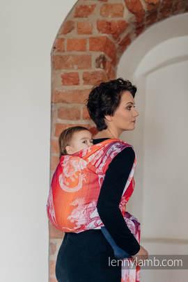 Baby Wrap, Jacquard Weave (100% cotton) - DRAGON ORANGE & RED - size L