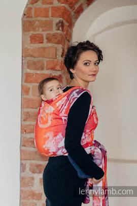 Baby Wrap, Jacquard Weave (100% cotton) - DRAGON ORANGE & RED - size S