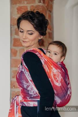 Baby Wrap, Jacquard Weave (100% cotton) - DRAGON ORANGE & RED - size L (grade B)