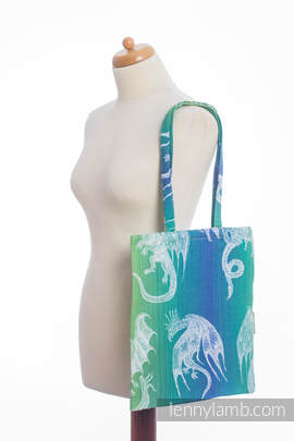 Shopping bag made of wrap fabric (100% cotton) - DRAGON GREEN & BLUE