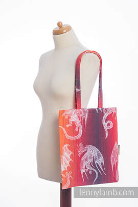 Shopping bag made of wrap fabric (100% cotton) - DRAGON ORANGE & RED