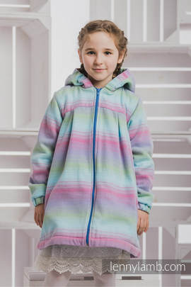 Girls Coat - size 104 - LITTLE HERRINGBONE IMPRESSION with Blue