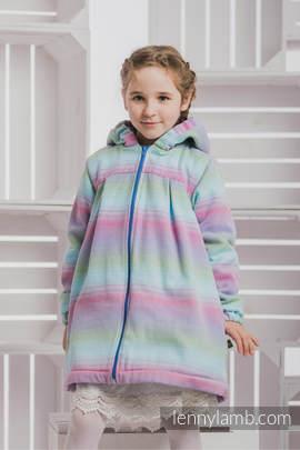 Girls Coat - size 110 - LITTLE HERRINGBONE IMPRESSION with Blue