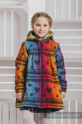 Girls Coat - size 116 - RAINBOW LACE DARK with Black