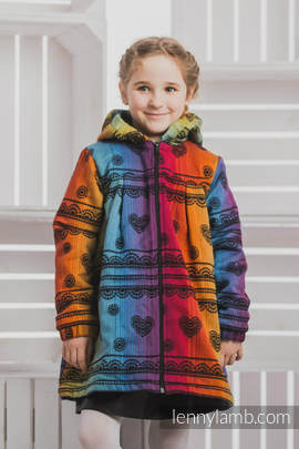 Girls Coat - size 134 - RAINBOW LACE DARK with Black