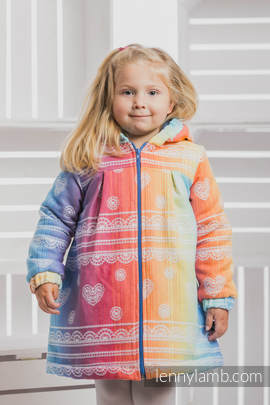 Girls Coat - size 128 - RAINBOW LACE with Blue