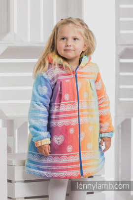 Girls Coat - size 134 - RAINBOW LACE with Blue