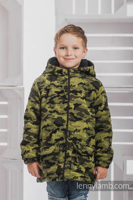 Boys Coat - size 116 - GREEN CAMO with Black