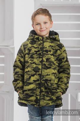 Mantel für Jungs - Größe 134 - GRÜN CAMO und Schwarz