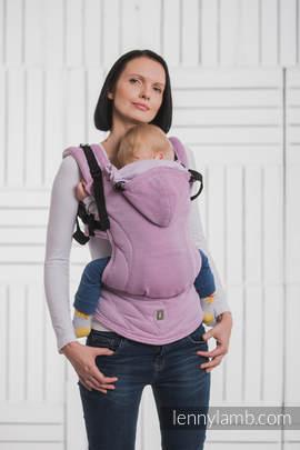 Nosidełko Ergonomiczne , splot jodełkowy, 100% bawełna , Baby Size, MAŁA JODEŁKA PURPUROWA - Druga Generacja