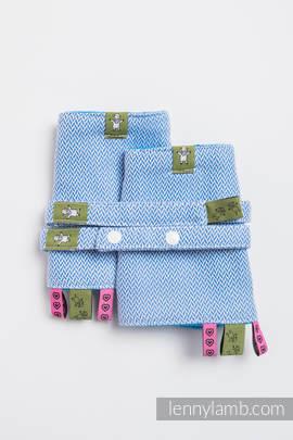 Drool Pads & Reach Straps Set, (100% cotton) - LITTLE HERRINGBONE BLUE