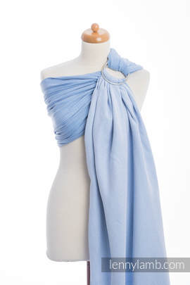 Ringsling, Herringbone Weave (100% cotton) - with gathered shoulder - LITTLE HERRINGBONE BLUE  (grade B)