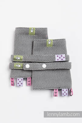 Drool Pads & Reach Straps Set, (100% cotton) - LITTLE HERRINGBONE BLACK