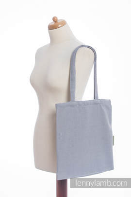 Shopping bag made of wrap fabric (100% cotton) - LITTLE HERRINGBONE GREY