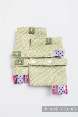 Drool Pads & Reach Straps Set, (100% cotton) - LITTLE HERRINGBONE OLIVE GREEN