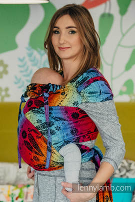 WRAP-TAI carrier Toddler with hood/ jacquard twill / 100% cotton / DRAGONFLY RAINBOW DARK