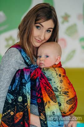 Baby Wrap, Jacquard Weave (100% cotton) - DRAGONFLY RAINBOW DARK - size L