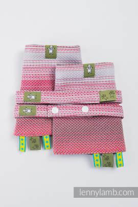 Drool Pads & Reach Straps Set, (100% cotton) - LITTLE HERRINGBONE ELEGANCE