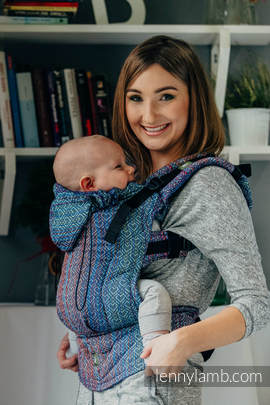 Ergonomic Carrier, Toddler Size, jacquard weave 100% cotton - wrap conversion from BIG LOVE - SAPPHIRE  - Second Generation