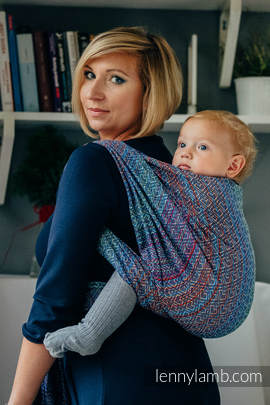 Baby Wrap, Jacquard Weave (100% cotton) - BIG LOVE - SAPPHIRE - size XL