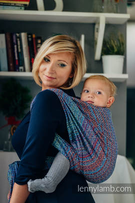Baby Wrap, Jacquard Weave (100% cotton) - BIG LOVE - SAPPHIRE - size M
