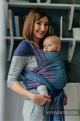 Żakardowa chusta do noszenia dzieci, bawełna - BIG LOVE - SZAFIR - rozmiar L
