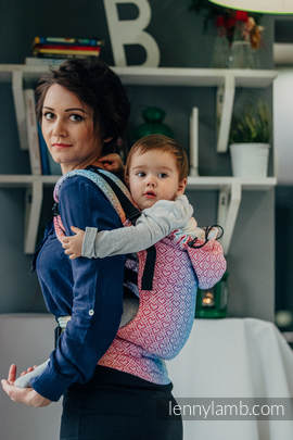 Ergonomic Carrier, Toddler Size, jacquard weave 100% cotton - wrap conversion from BIG LOVE - RAINBOW - Second Generation
