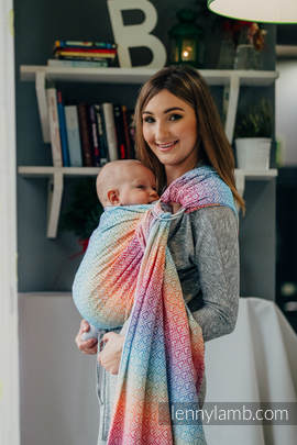 Ringsling, Jacquard Weave (100% cotton) - with gathered shoulder - BIG LOVE - RAINBOW