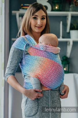 WRAP-TAI carrier Mini with hood/ jacquard twill / 100% cotton / BIG LOVE - RAINBOW