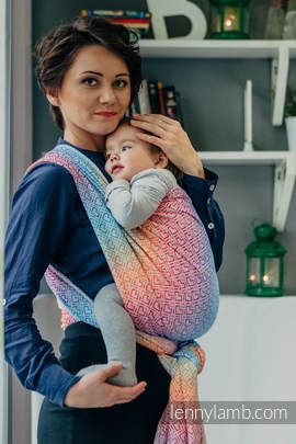 Baby Wrap, Jacquard Weave (100% cotton) - BIG LOVE - RAINBOW - size S