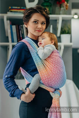Baby Wrap, Jacquard Weave (100% cotton) - BIG LOVE - RAINBOW - size M