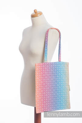Shopping bag made of wrap fabric (100% cotton) - BIG LOVE - RAINBOW (grade B)