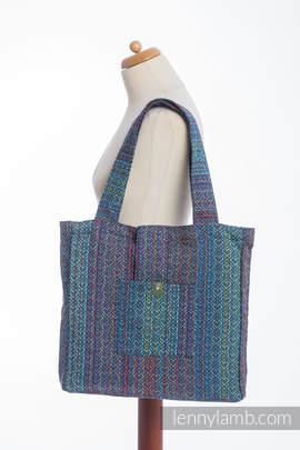 Torba na ramię z materiału chustowego, (100% bawełna) - BIG LOVE - SZAFIR - uniwersalny rozmiar 37cmx37cm