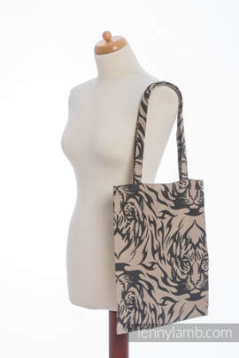 Shopping bag made of wrap fabric (100% cotton) - TIGER BLACK & BEIGE 2.0