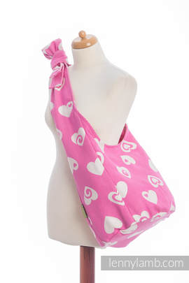 Hobo Bag made of woven fabric, 100 % cotton - SWEETHEART PINK & CREME 2.0