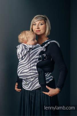 Nosidełko Ergonomiczne z tkaniny żakardowej 100% bawełna , Baby Size, ZEBRA GRAFIT Z BIELĄ  - Druga Generacja