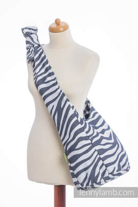 Hobo Bag made of woven fabric, 100% cotton - ZEBRA GRAPHITE & WHITE