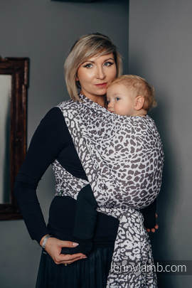 Baby Wrap, Jacquard Weave (100% cotton) - CHEETAH DARK BROWN & WHITE - size XL