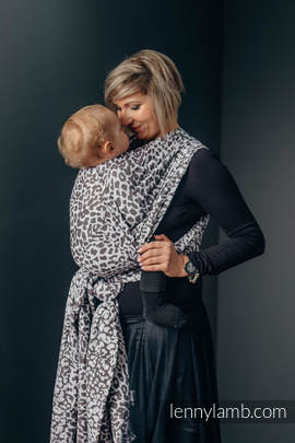 Baby Wrap, Jacquard Weave (100% cotton) - CHEETAH DARK BROWN & WHITE - size XS