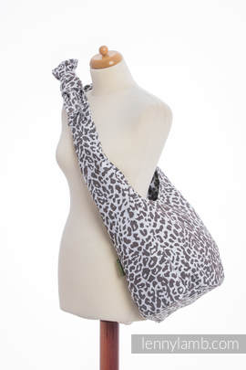 Hobo Bag made of woven fabric, 100% cotton - CHEETAH DARK BROWN & WHITE