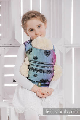 Doll Carrier made of woven fabric (100% cotton) - RAINBOW LACE DARK