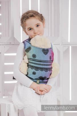 Nosidełko dla lalek z tkaniny chustowej - TĘCZOWA KORONKA DARK