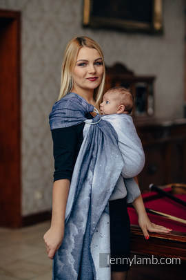 Ringsling, Jacquard Weave (100% cotton) - with gathered shoulder - MOONLIGHT WOLF