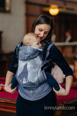 Ergonomische Tragehilfe, Größe Toddler, Jacquardwebung, 100% Baumwolle - MOONLIGHT WOLF - Zweite Generation